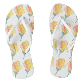 Yellow Sunset Rose Watercolor Flip Flops
