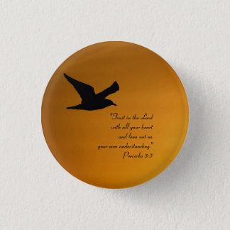 Yellow Sunset Sky Bird in Flight Faith Bible Verse 1 Inch Round Button