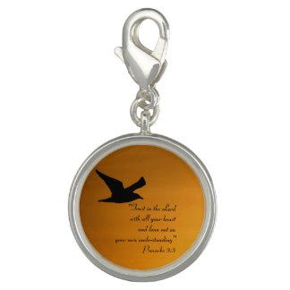 Yellow Sunset Sky Bird in Flight Faith Bible Verse Charm