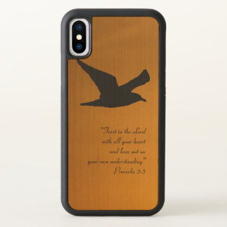 Yellow Sunset Sky Bird in Flight Faith Bible Verse iPhone X Case