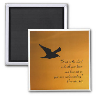 Yellow Sunset Sky Bird in Flight Faith Bible Verse Magnet