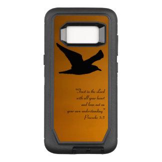 Yellow Sunset Sky Bird in Flight Faith Bible Verse OtterBox Defender Samsung Galaxy S8 Case
