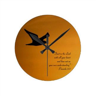 Yellow Sunset Sky Bird in Flight Faith Bible Verse Round Clock