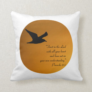 Yellow Sunset Sky Bird in Flight Faith Bible Verse Throw Pillow