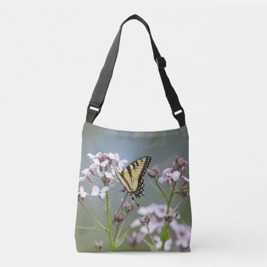 Yellow swallowtail butterfly crossbody bag
