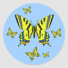 Yellow Swallowtail Butterfly Group in Flight Classic Round Sticker