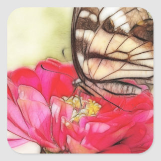 Yellow Swallowtail butterfly on a Zinnia Square Sticker