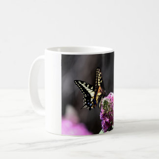 Yellow Swallowtail Butterfly on Pink Butterfly Bus Coffee Mug