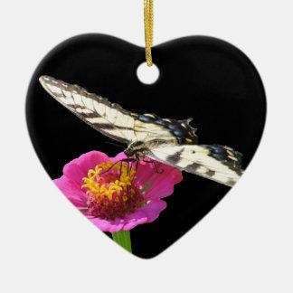 Yellow Swallowtail Ceramic Heart Ornament