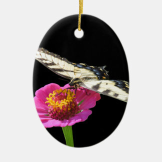 Yellow Swallowtail Ceramic Oval Ornament
