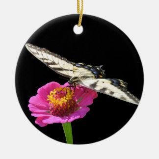 Yellow Swallowtail Round Ceramic Ornament