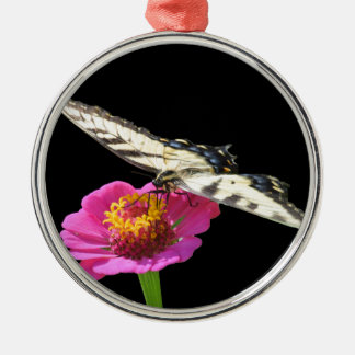 Yellow Swallowtail Silver-Colored Round Ornament