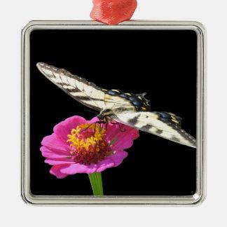 Yellow Swallowtail Silver-Colored Square Ornament