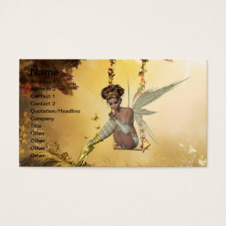 Yellow Swinging Fairy Business Card Template