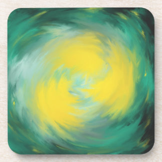 Yellow Swirling on Aqua Green Abstract Art Design Coaster