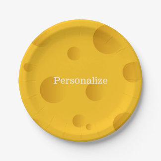 Yellow swiss cheese disposable paper party plates