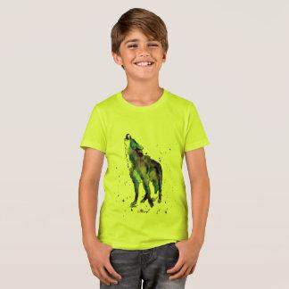 yellow t-shirt with handpainted wolf