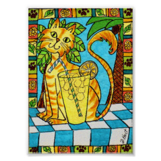 Yellow Tabby Cat & Glass of Lemonade Mini Folk Art Poster