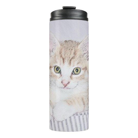 Yellow Tabby Kiten Painting - Cute Original Cat Ar Thermal Tumbler