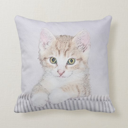 Yellow Tabby Kiten Painting - Cute Original Cat Ar Throw Pillow