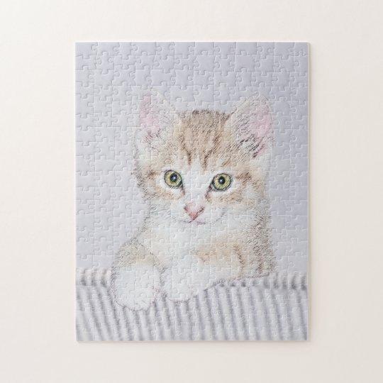 Yellow Tabby Kitten Painting - Cute Original Cat A Jigsaw Puzzle