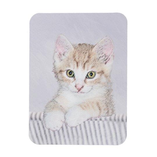 Yellow Tabby Kitten Painting - Cute Original Cat A Magnet