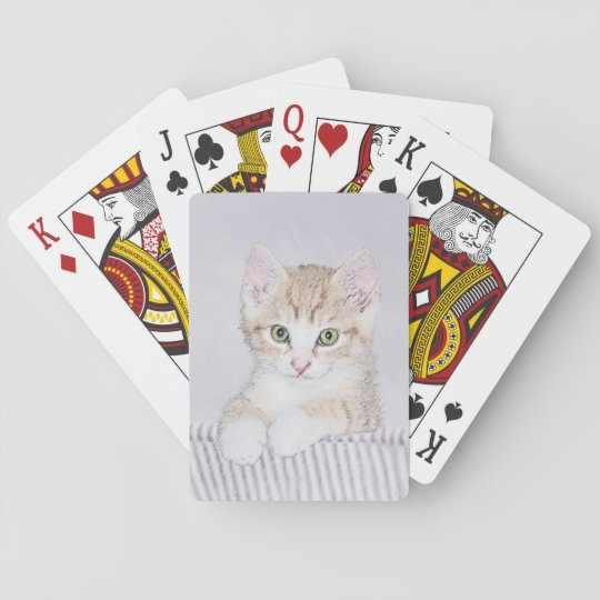 Yellow Tabby Kitten Painting - Cute Original Cat A Playing Cards