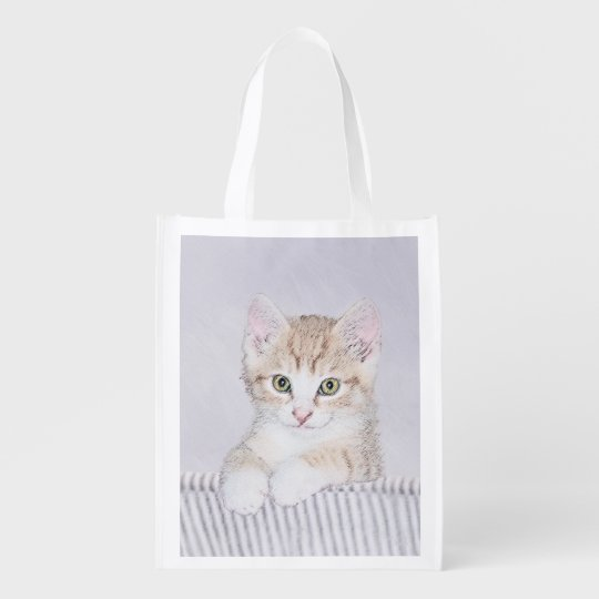 Yellow Tabby Kitten Painting - Cute Original Cat A Reusable Grocery Bag