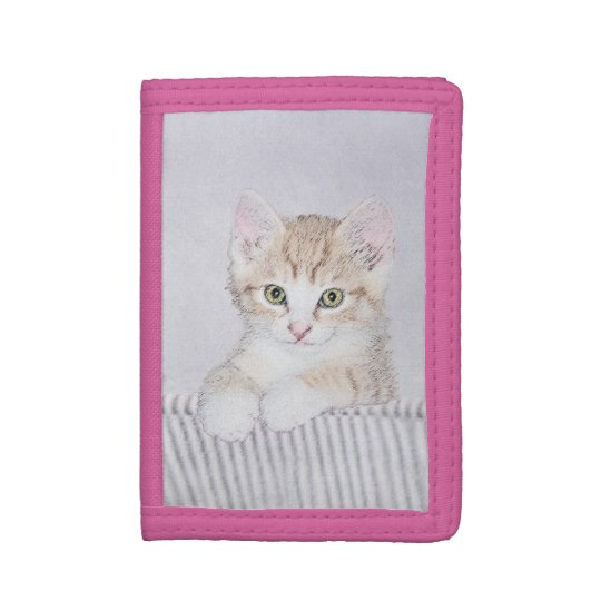 Yellow Tabby Kitten Painting - Cute Original Cat A Trifold Wallet