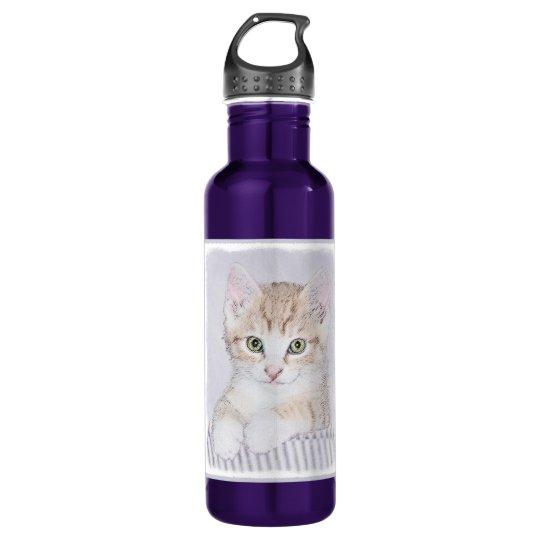 Yellow Tabby Kitten Painting - Original Cat Art 710 Ml Water Bottle