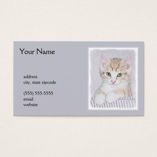 Yellow Tabby Kitten Painting - Original Cat Art Business Card