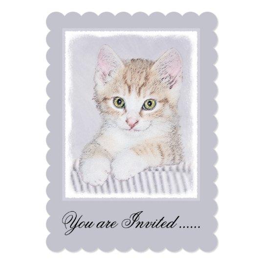 Yellow Tabby Kitten Painting - Original Cat Art Card