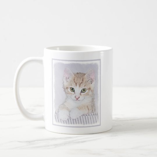 Yellow Tabby Kitten Painting - Original Cat Art Coffee Mug