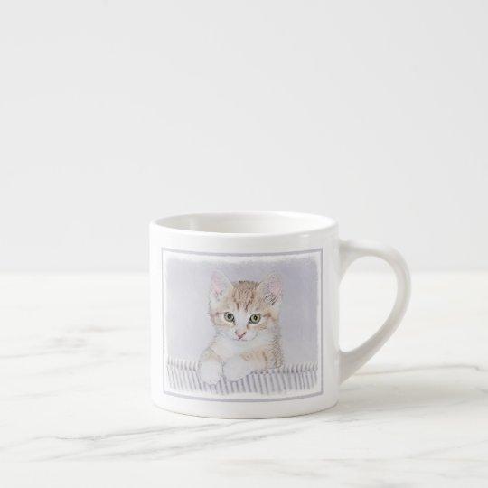 Yellow Tabby Kitten Painting - Original Cat Art Espresso Cup