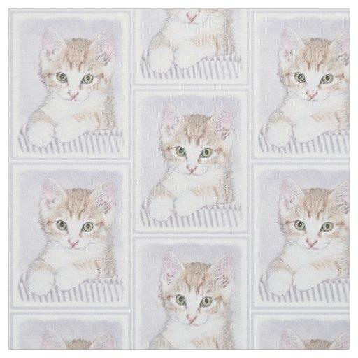 Yellow Tabby Kitten Painting - Original Cat Art Fabric