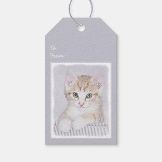 Yellow Tabby Kitten Painting - Original Cat Art Gift Tags