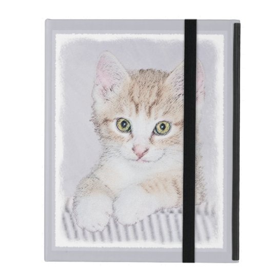 Yellow Tabby Kitten Painting - Original Cat Art iPad Folio Case