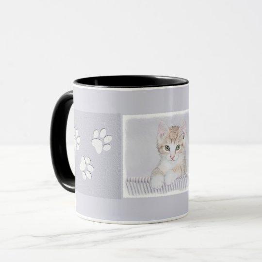 Yellow Tabby Kitten Painting - Original Cat Art Mug