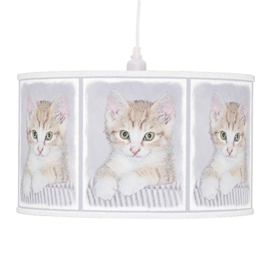 Yellow Tabby Kitten Painting - Original Cat Art Pendant Lamp