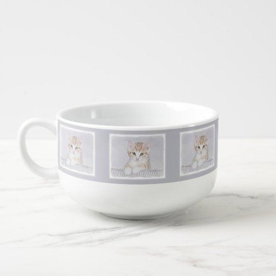 Yellow Tabby Kitten Painting - Original Cat Art Soup Mug