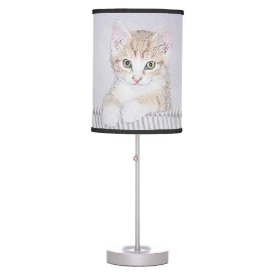 Yellow Tabby Kitten Painting - Original Cat Art Table Lamp