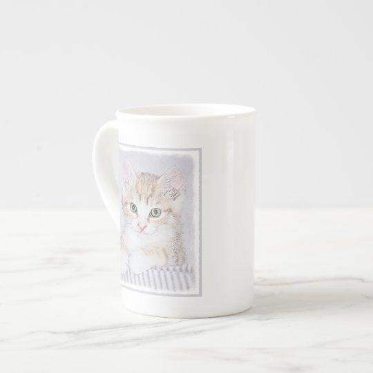 Yellow Tabby Kitten Painting - Original Cat Art Tea Cup