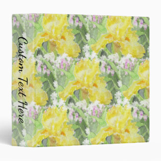 Yellow Tall Bearded Iris Watercolor 3 Ring Binder