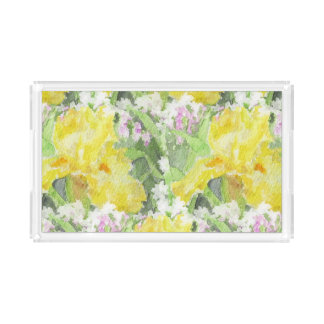Yellow Tall Bearded Iris Watercolor Acrylic Tray