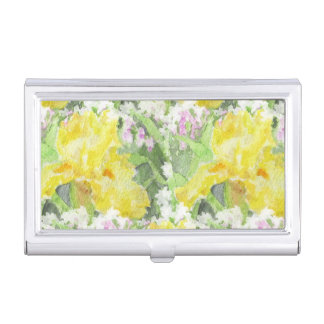 Yellow Tall Bearded Iris Watercolor Business Card Holder