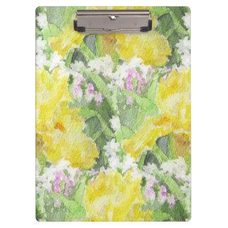 Yellow Tall Bearded Iris Watercolor Clipboard