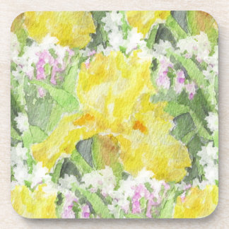 Yellow Tall Bearded Iris Watercolor Coaster