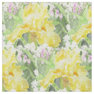 Yellow Tall Bearded Iris Watercolor Fabric