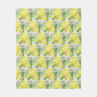 Yellow Tall Bearded Iris Watercolor Fleece Blanket