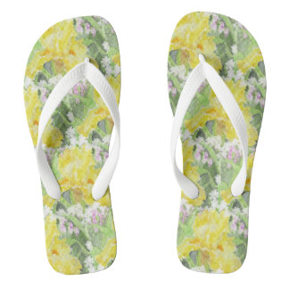 Yellow Tall Bearded Iris Watercolor Flip Flops